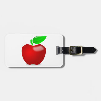 Glossy Red Apple with Green Leafed Stem Travel Bag Tag
