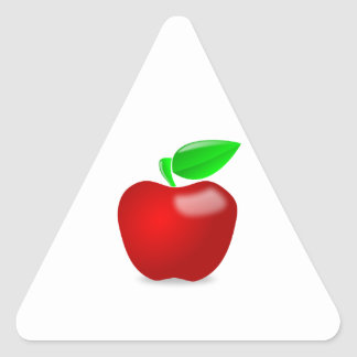 Glossy Red Apple with Green Leafed Stem Triangle Sticker