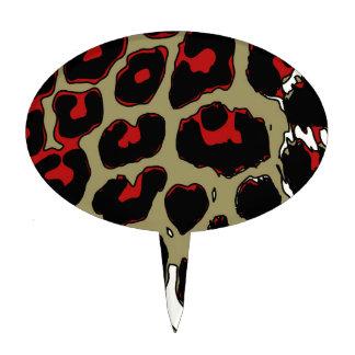 Glossy Red Black Cheetah Cake Topper