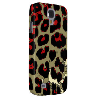 Glossy Red Black Cheetah Samsung S4 Case