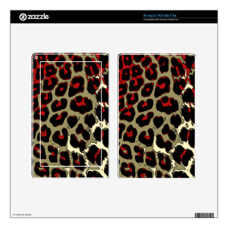 Glossy Red Black Cheetah Skin For Kindle Fire