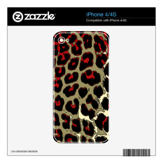 Glossy Red Black Cheetah Skin For The iPhone 4S