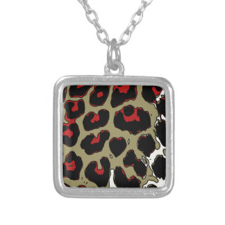 Glossy Red Black Cheetah Square Pendant Necklace
