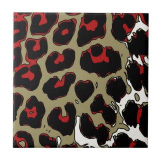 Glossy Red Black Cheetah Tile