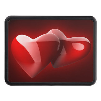 Glossy Red Hearts Hitch Cover