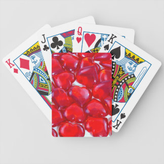 Glossy Red Hearts Bicycle Playing Cards