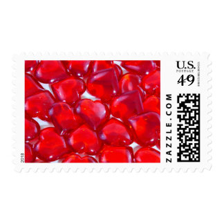 Glossy Red Hearts Stamp
