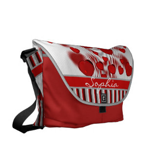 Glossy Red Hearts Silver Liquid Swirl Gray Stripes Messenger Bag