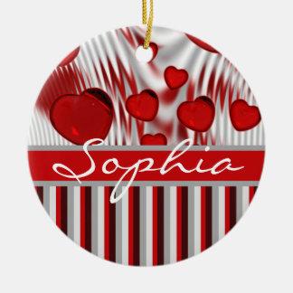 Glossy Red Hearts Silver Liquid Swirl Gray Stripes Ornaments