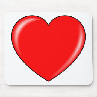 Glossy Red Valentine's Day Heart Mousepads