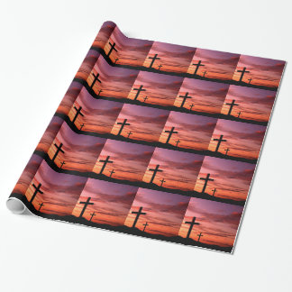 Glossy Religous Wrapping Paper - 3 Cross Jesus