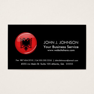 Glossy Round Albanian Flag Business Card