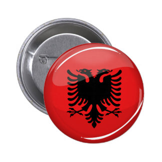 Glossy Round Albanian Flag Button