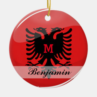 Glossy Round Albanian Flag Double-Sided Ceramic Round Christmas Ornament