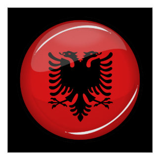 Glossy Round Albanian Flag Poster