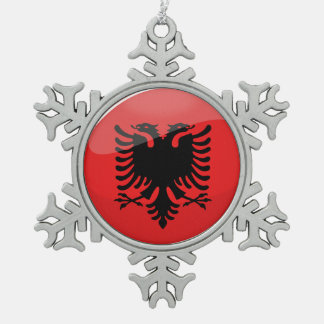 Glossy Round Albanian Flag Snowflake Pewter Christmas Ornament