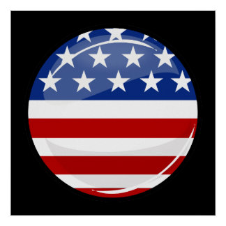 Glossy Round American Flag Poster