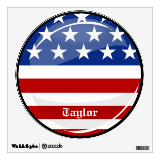 Glossy Round American Flag Wall Decal