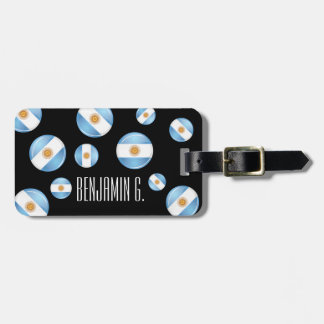 Glossy Round Argentina Flag Bag Tag