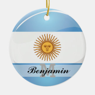 Glossy Round Argentina Flag Double-Sided Ceramic Round Christmas Ornament