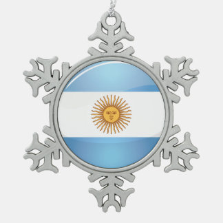Glossy Round Argentina Flag Snowflake Pewter Christmas Ornament