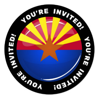 Glossy Round Arizona Flag Card