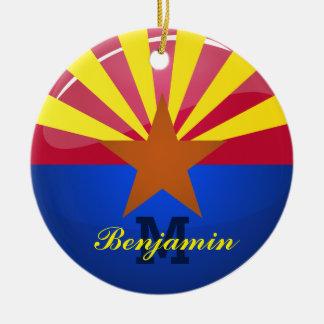 Glossy Round Arizona Flag Double-Sided Ceramic Round Christmas Ornament