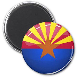 Glossy Round Arizona Flag Magnet