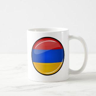 Glossy Round Armenia Flag Classic White Coffee Mug