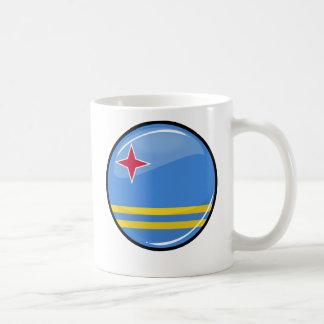 Glossy Round Aruba Flag Classic White Coffee Mug