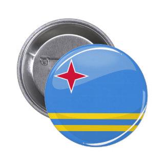 Glossy Round Aruba Flag Pinback Button