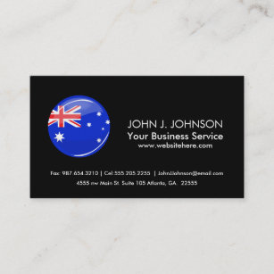 Australia flag round office products supplies zazzle glossy round australian flag business card reheart Choice Image