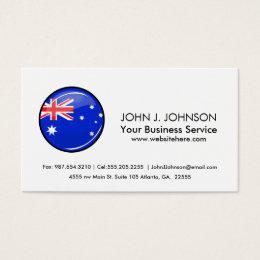 Glossy Round Australian Flag Business Card