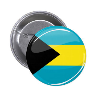 Glossy Round Bahamian Flag Button