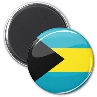Glossy Round Bahamian Flag Magnet