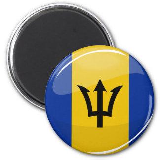 Glossy Round Barbados Flag Refrigerator Magnets