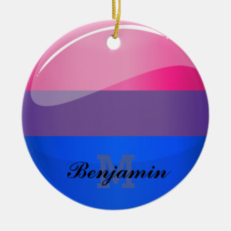 Glossy Round Bisexuality Flag Ceramic Ornament