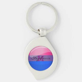 Glossy Round Bisexuality Flag Keychain