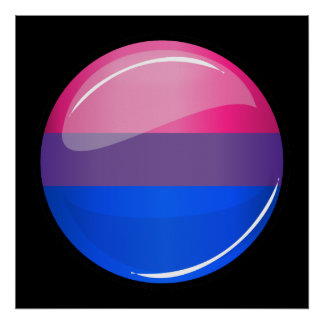 Glossy Round Bisexuality Flag Poster