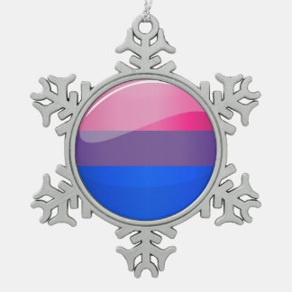 Glossy Round Bisexuality Flag Snowflake Pewter Christmas Ornament