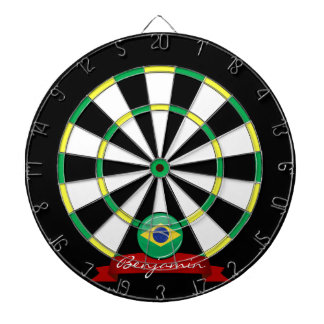 Glossy Round Brazilian Flag Dartboard With Darts