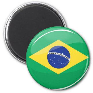 Glossy Round Brazilian Flag Magnet