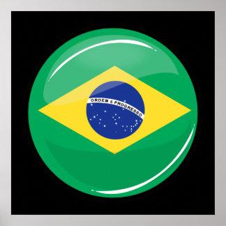 Glossy Round Brazilian Flag Poster