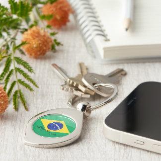 Glossy Round Brazilian Flag Silver-Colored Swirl Metal Keychain