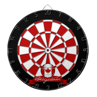 Glossy Round Canadian Flag Dartboard With Darts