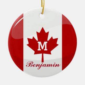 Glossy Round Canadian Flag Double-Sided Ceramic Round Christmas Ornament