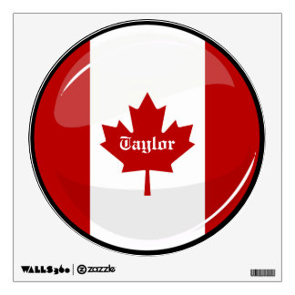 Glossy Round Canadian Flag Wall Skins