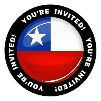 Glossy Round Chilean Flag Card
