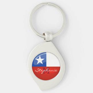 Glossy Round Chilean Flag Keychain