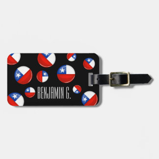 Glossy Round Chilean Flag Tag For Bags